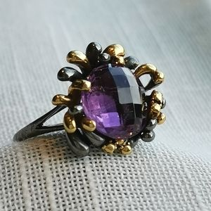 NWT, amethyst sterling silver 14k gold ring